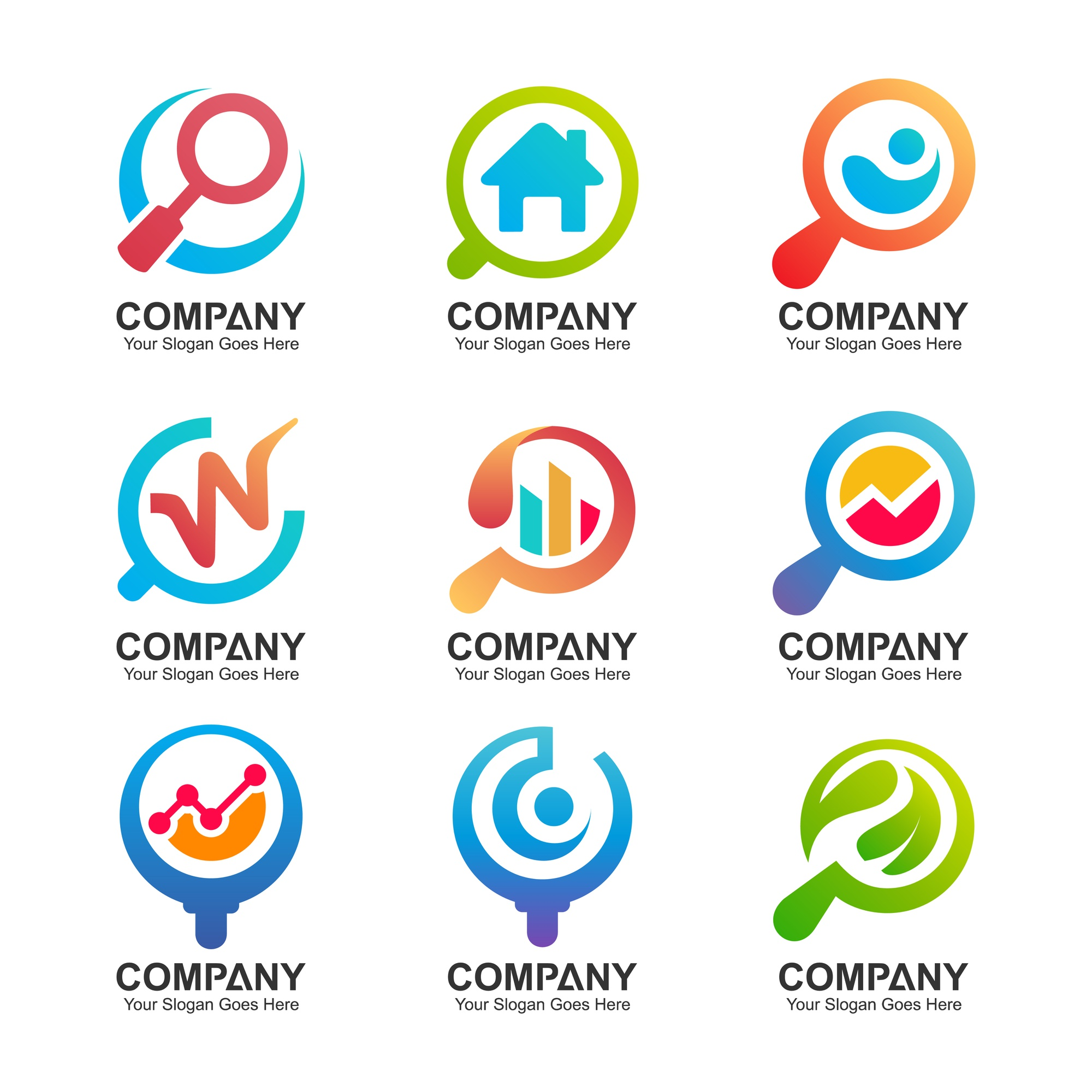 magnifying glass logo collection