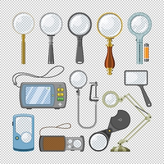 Magnifying glass  magnification zoom and magnify research lens illustration set of magnified scientific exploration search sign  on transparent background