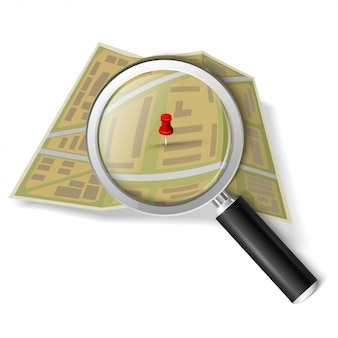 Magnifying glass over the map