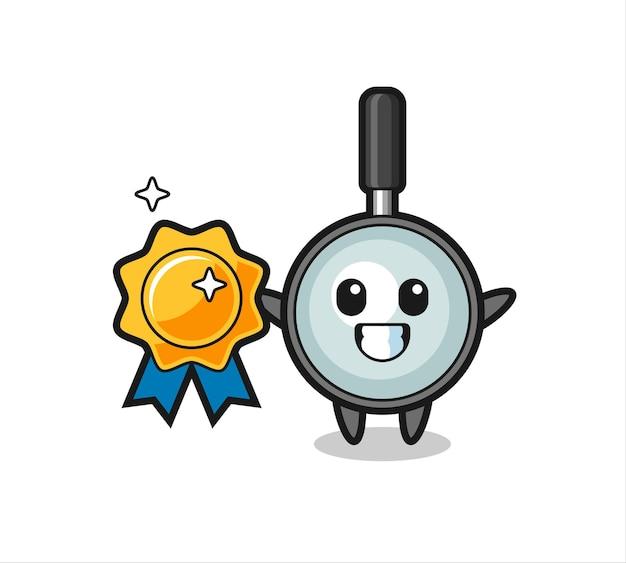 Magnifying glass mascot illustration holding a golden badge , cute style design for t shirt, sticker, logo element