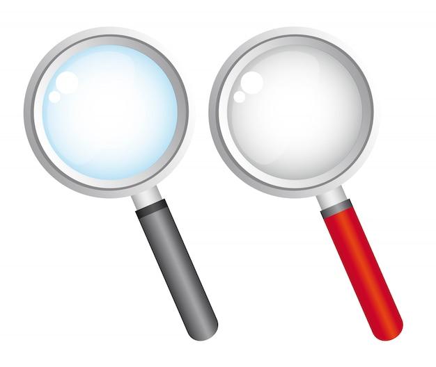 Увеличительное стекло на белом фоне векторные иллюстрации