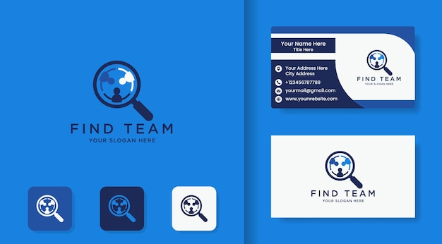 Magnifying glass people logo and business card
