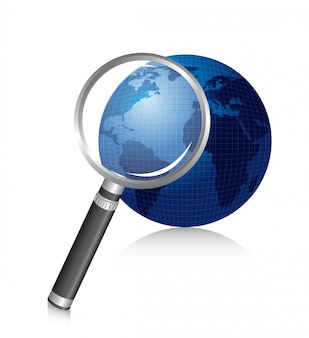 Magnifying glass over planet with shadow vector illustration