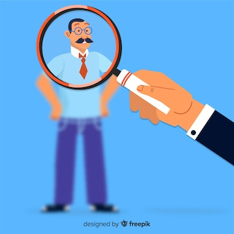 Magnifying glass searching talent illustration