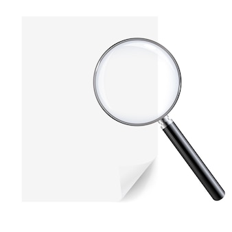 Magnifying glass and sheet of paper Premium Vector