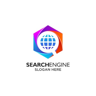 Magnifying glass and shield for search engine logo design