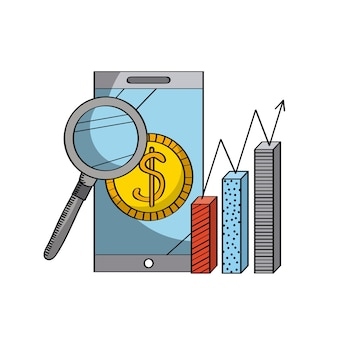 Magnifying glass and smartphone and graphic chart icon
