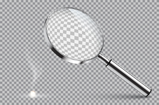 Magnifying glass starting fire isolated on transparent background