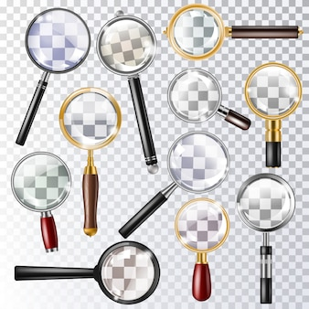 Magnifying glass vector magnification zoom or search and magnify research lens