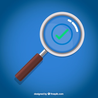 Magnifying glass with check in flat style