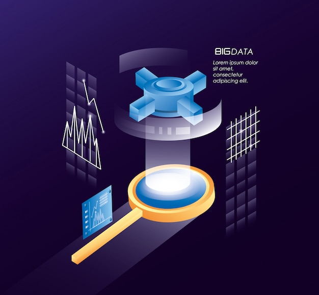 Magnifying glass with data center icons