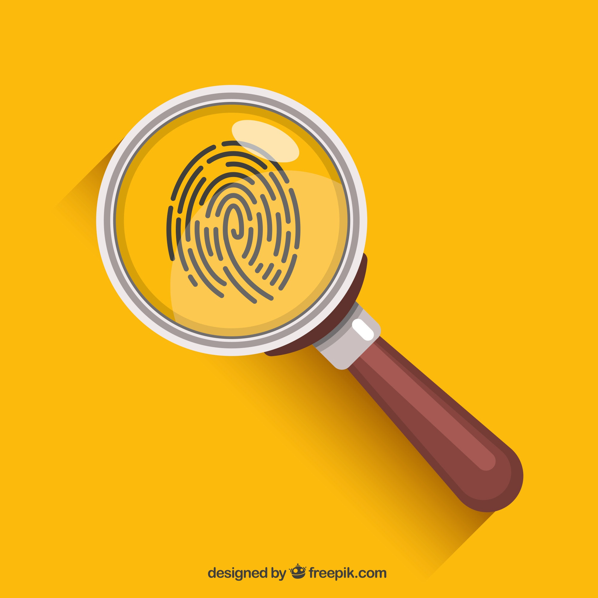 Magnifying glass with fingerprint in flat style