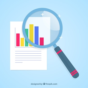 Magnifying glass with graphics in flat style