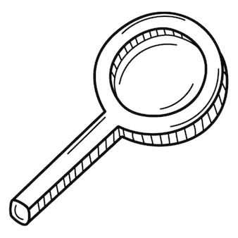 A magnifying glass with a handle. search, research. doodle. hand-drawn black white illustration.