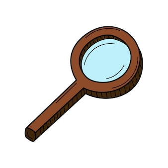 Magnifying glass with a handle. search, research. doodle. hand-drawn colorful illustration.
