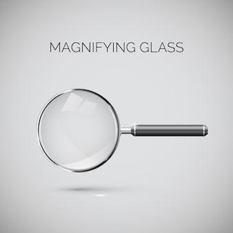 Увеличительное стекло с металлической рамкой и черной ручкой.
