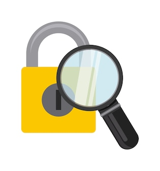 Magnifying glass with padlock icon