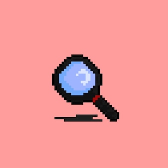 Magnifying glass with pixel art style
