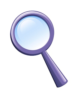 Magnifying glass with purple plastic case flat vector illustration isolated on white background.