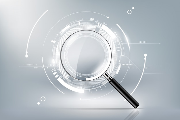 Magnifying glass with scan search concept and futuristic electronic technology background, transparent  illustration