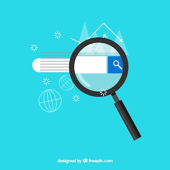 Magnifying glass with searcher in flat style Premium Vector