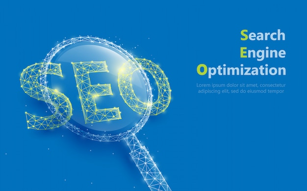 Magnifying glass with seo sign form lines and triangles