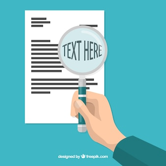 Magnifying glass with text in flat style
