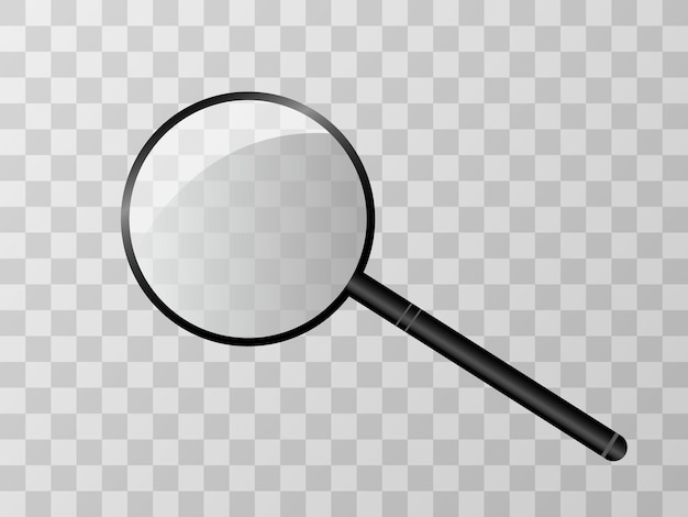 Magnifying lens on a transparent background.