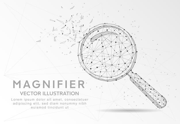 깨진 부분 삼각형 모양과 흩어져있는 점 저 폴리 와이어 프레임 형태로 디지털로 그려진 돋보기 또는 검색 기호.