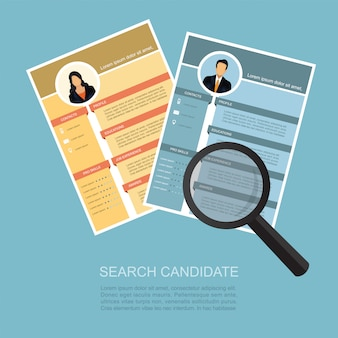 Magnifying zoom cv resume choosing people candidate.