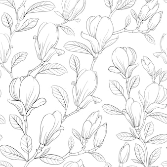 Magnolia blooming flower pattern