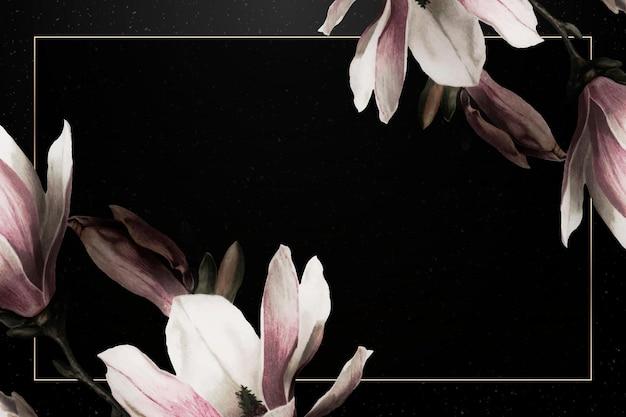 Magnolia border frame on black background