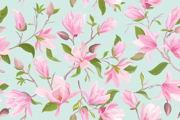 マグノリア花のシームレスなベクトルパターン。水彩モクレンの花、葉、花びら、花の背景。春と夏の結婚式の日本の壁紙、生地、プリント、招待状、背景、カバー