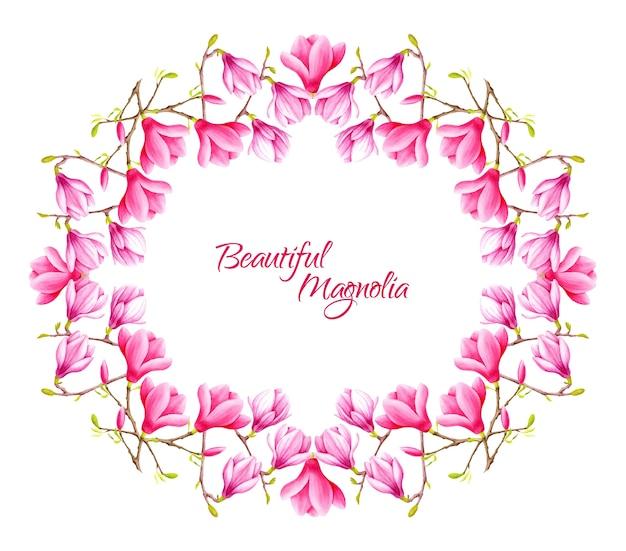 マグノリアの花をテーマにしたフレーム