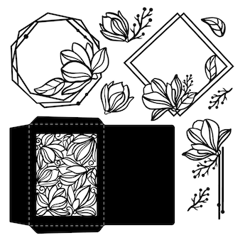 Magnolia flower envelope monochrome holiday collection from bouquets and greeting openwork frames for cutting and print clipart vector illustration set