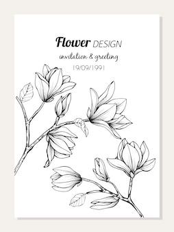 Magnolia flower frame drawing illustration for card design