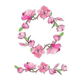 花輪をセットしたマグノリアの花。