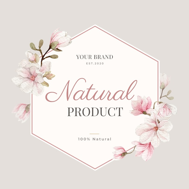 Magnolia flower watercolor frame and border for branding, corporate identity, packaging and product.