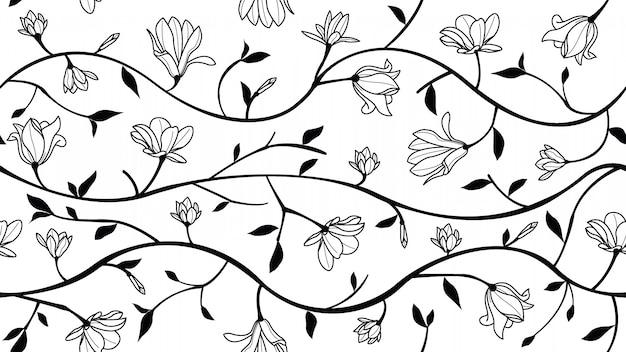 Magnolia flowers seamless pattern