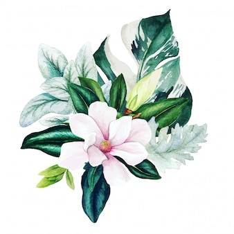 Magnolia and leaves, bright watercolor bouquet with monstera