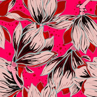 Magnolia pink flowers floral seamless pattern. summer background with delicate buds. flower pattern for textiles.