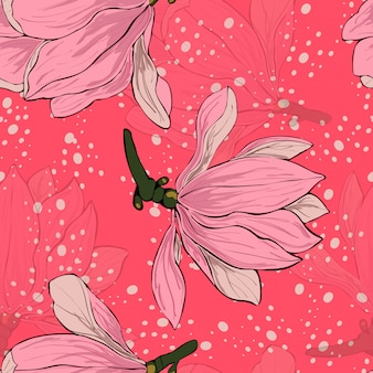 Magnolia pink flowers floral seamless pattern.