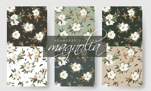 Magnolia seamless pattern collection