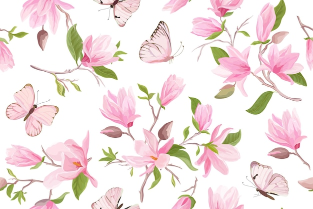Magnolia watercolor floral seamless vector pattern. butterflies, summer magnolia flowers, leaves, blossom background. spring wedding japanese wallpaper, for fabric, prints, invitation, backdrop, cover