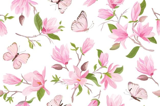 マグノリア水彩花のシームレスなベクトルパターン。蝶、夏のモクレンの花、葉、花の背景。春の結婚式の日本の壁紙、生地、プリント、招待状、背景、カバー