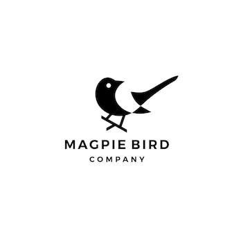 Сорока птица логотип вектор значок иллюстрации