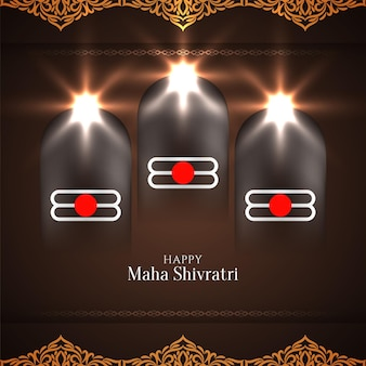 Maha shivratri festival greeting card with bright glossy decorations, lights and windows