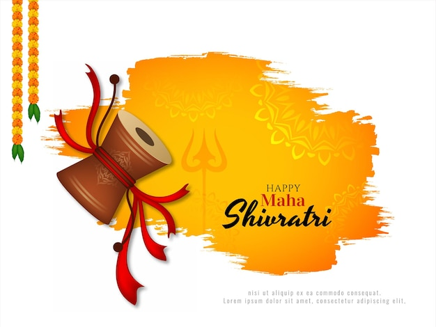 Maha shivratri festival greeting card with damroo design
