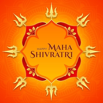 Maha shivratri golden shiva trishul background