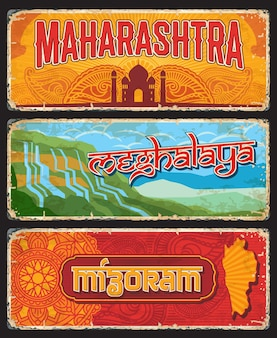 Maharashtra, meghalaya and mizoram indian states vintage plates or banners. vector travel destination aged signs, india landmarks. retro grunge boards, worn touristic signboards plaques with ornament